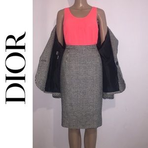 Christian Dior Houndstooth Print Skirt Set
